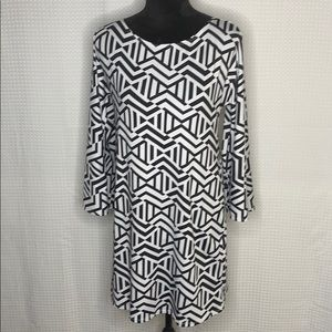 Tiana B. Blk/Wht Abstract Print Dress Sz 8 EUC